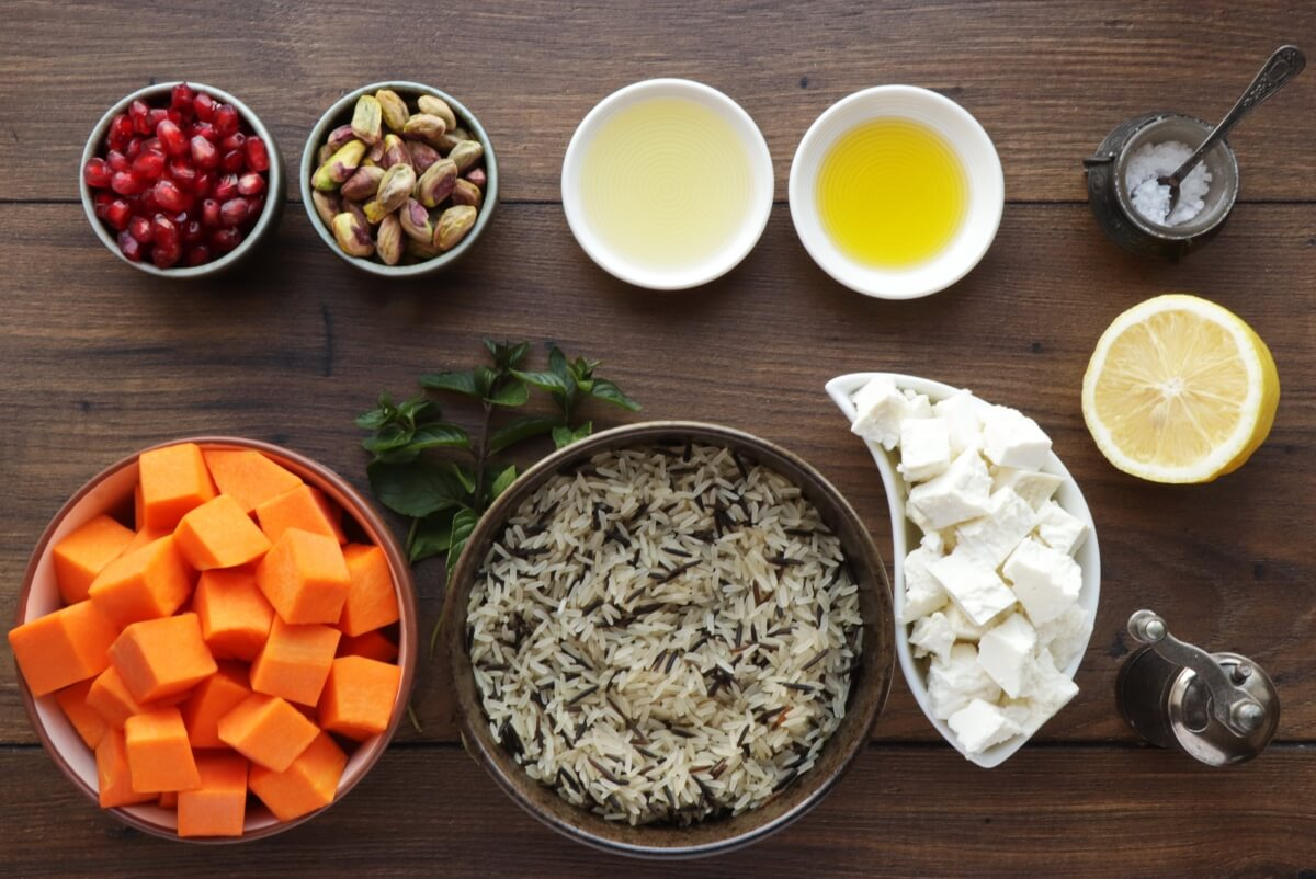Ingridiens for Warm Christmas Rice Salad