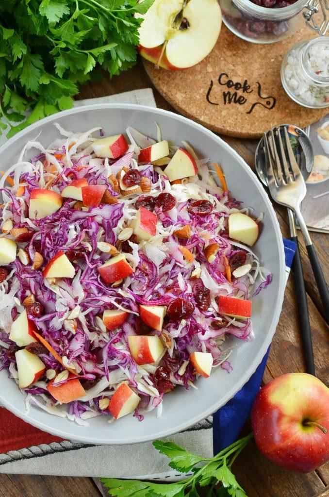 Apple Cranberry Almond Coleslaw Salad