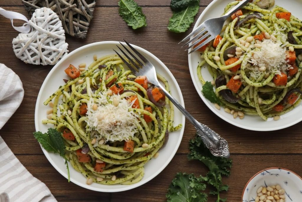 How to serve Bucatini with Winter Pesto and Sweet Potatoes
