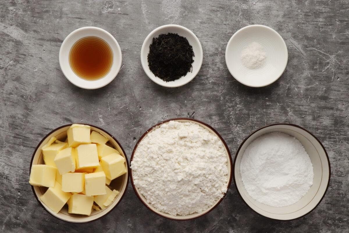 Ingridiens for Earl Grey Shortbread Cookies
