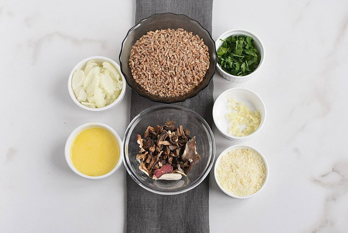 Ingridiens for Farro Risotto