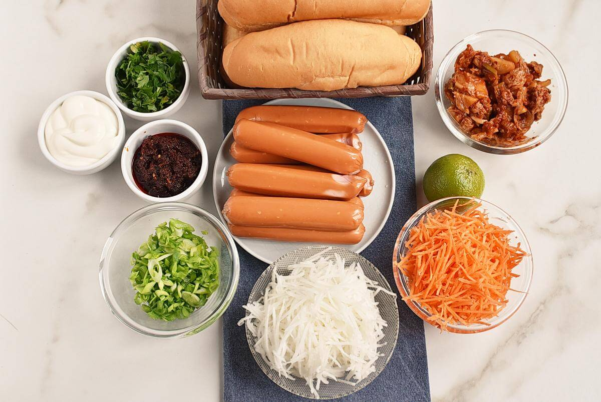 Ingridiens for Hot Dogs with Spicy Kimchi Slaw