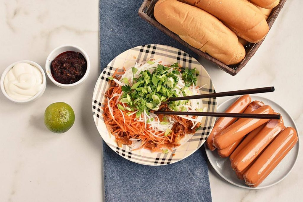 Hot Dogs with Spicy Kimchi Slaw recipe - step 1