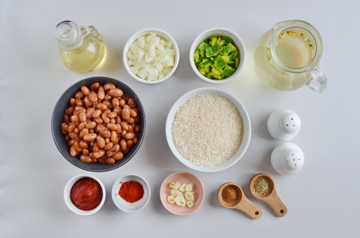 Ingridiens for Mexican Rice and Beans