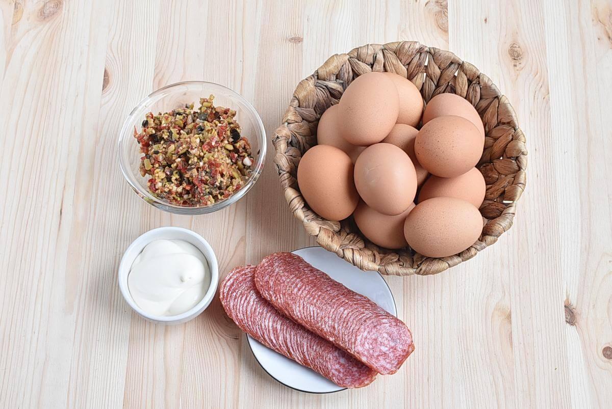 Ingridiens for Muffuletta Deviled Eggs