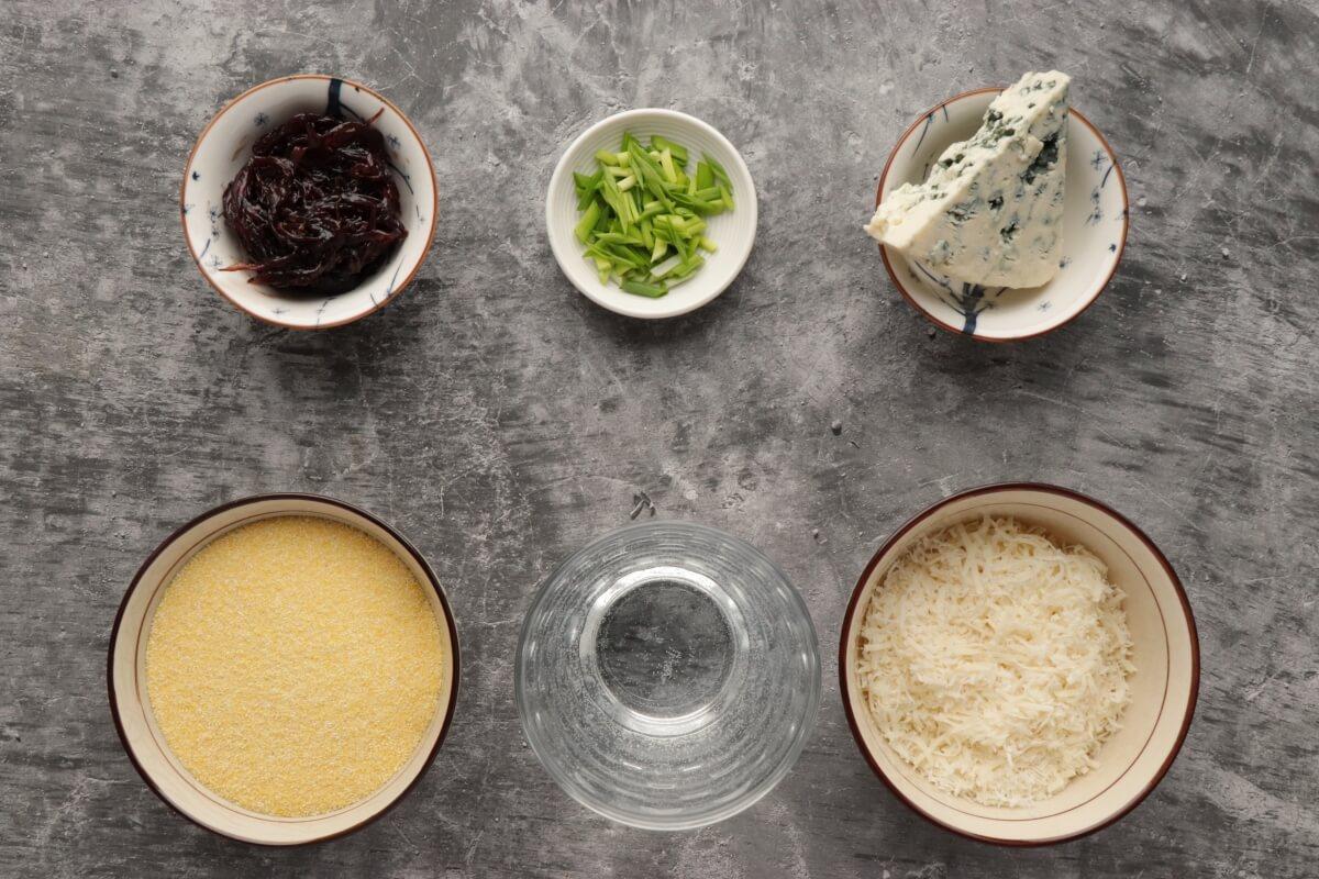 Ingridiens for Polenta Bites with Stilton and Red Onion Chutney