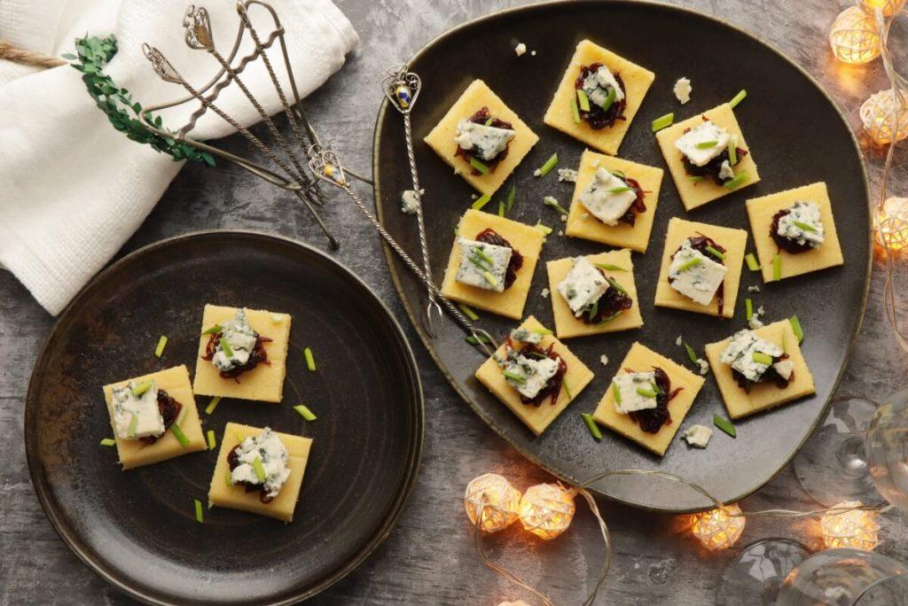 How to serve Polenta Bites with Stilton and Red Onion Chutney