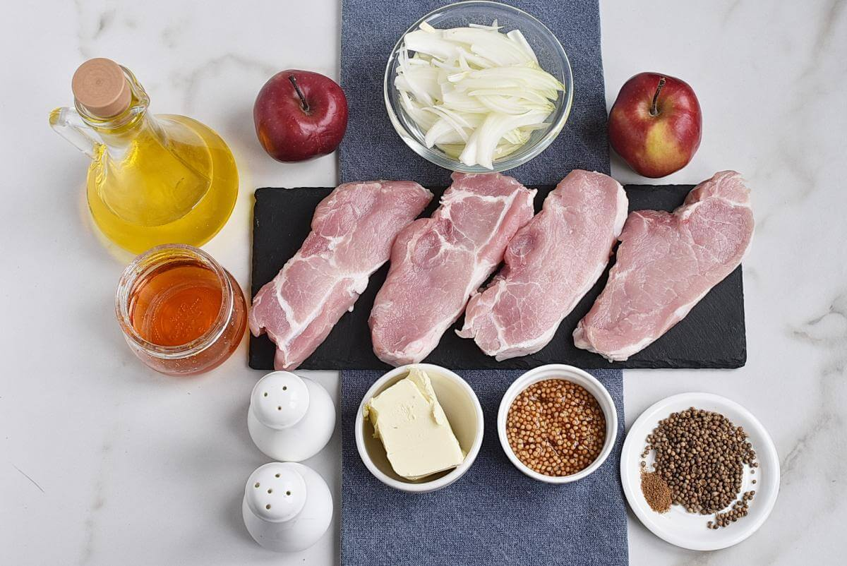 Ingridiens for Pork Chops with Sautéed Apples and Caramelized Onions
