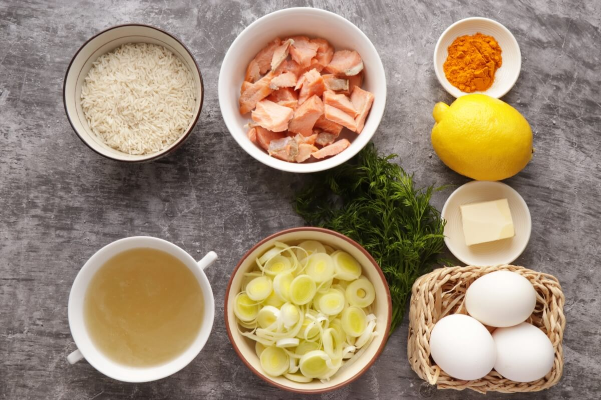 Ingridiens for Buttery Leek and Smoked Trout Kedgeree