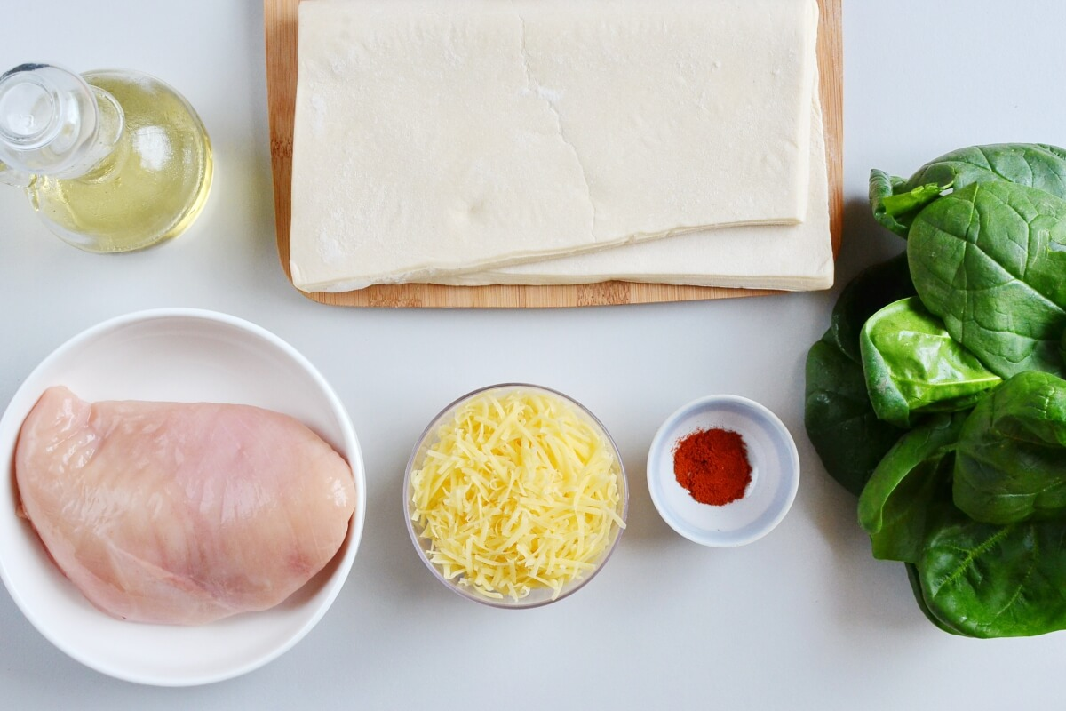 Ingridiens for Chicken and Spinach in Puff Pastry
