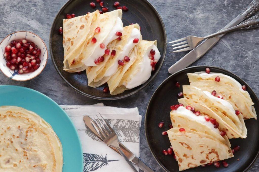 How to serve Dairy-Free Vanilla Crepes with Aquafaba Cream