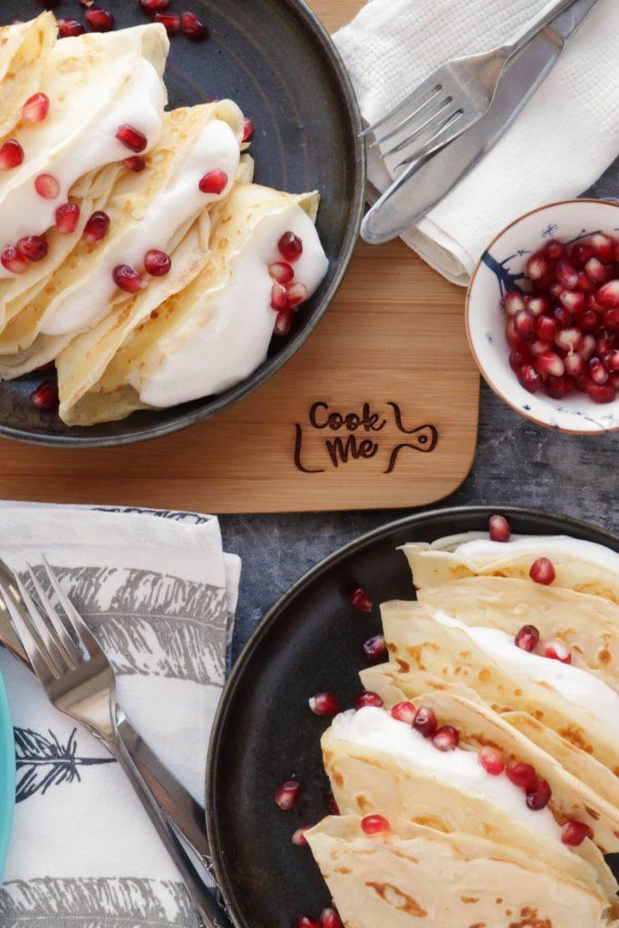 Dairy-Free Vanilla Crepes with Aquafaba Cream