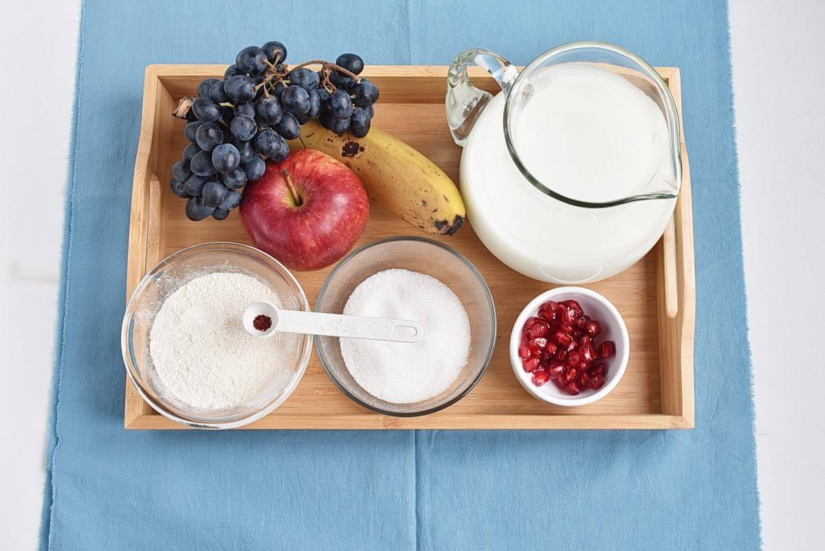 Ingridiens for Microwave Eggless Fruit Custard