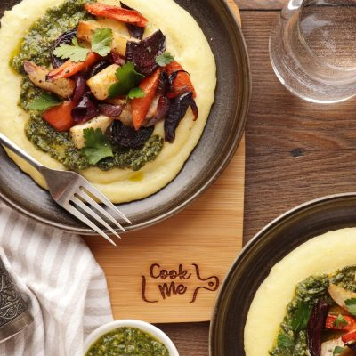 Roasted Root Vegetables with Goat Cheese Polenta Recipe-Goat Cheese Polenta with Roasted Vegetables-Goat Cheese Polenta with Roasted Vegetables