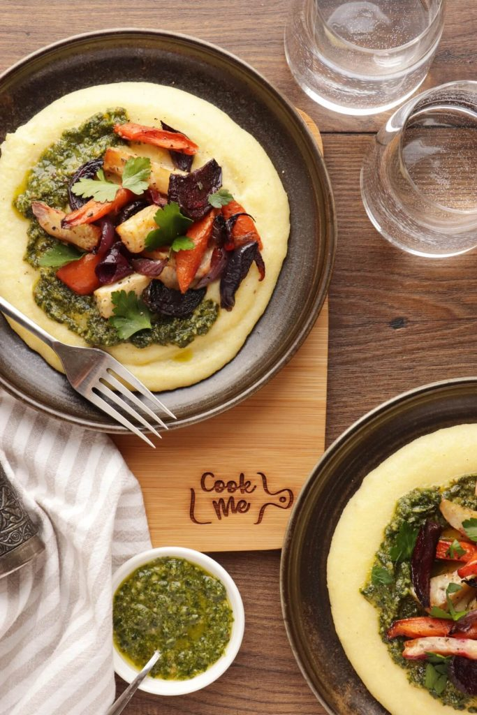 Roasted Root Vegetables with Goat Cheese Polenta