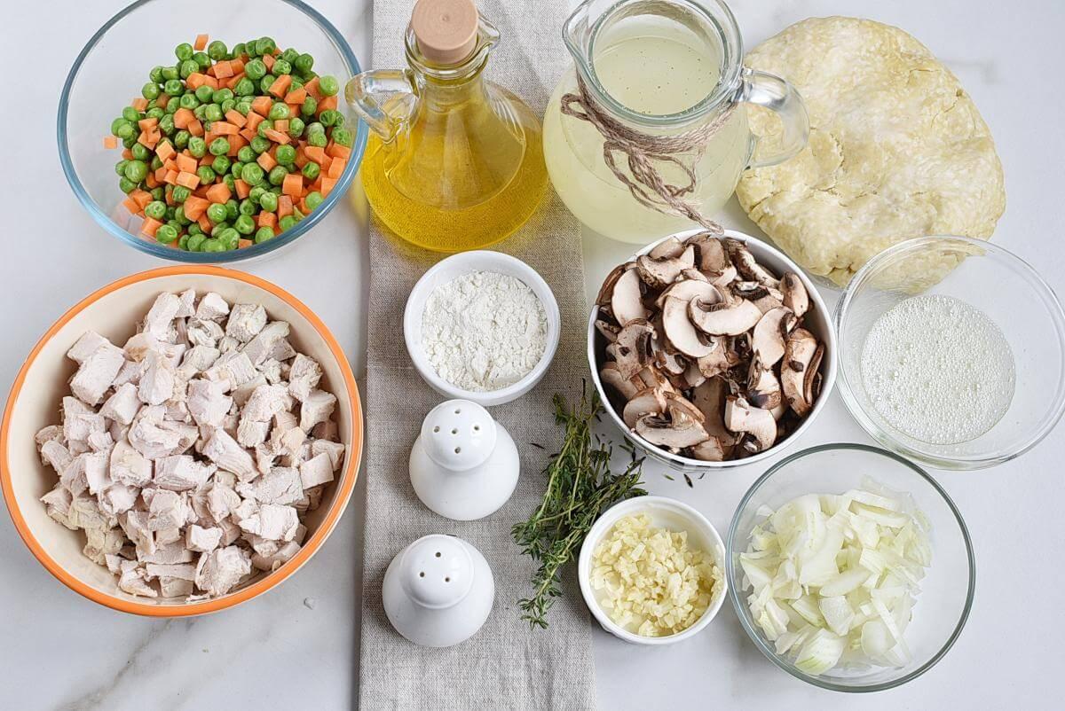 Ingridiens for Skillet Chicken Pot Pie