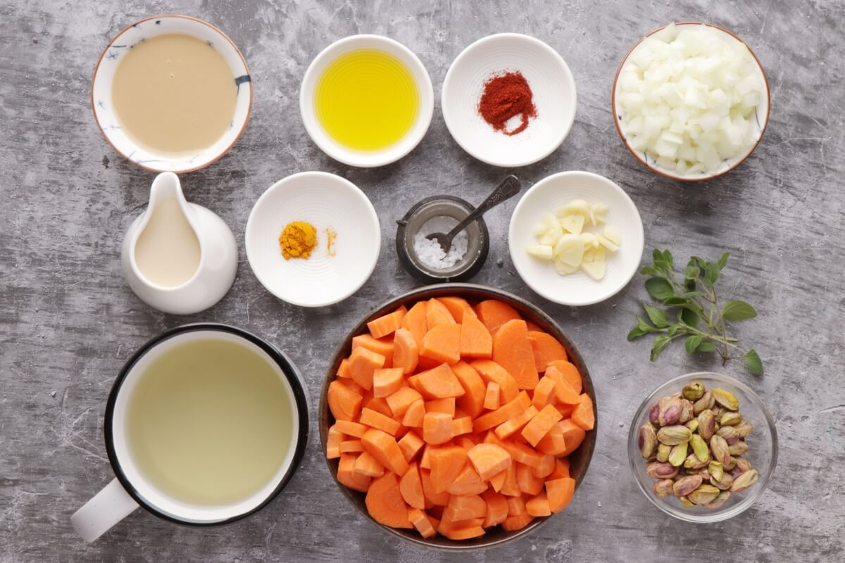Ingridiens for Tahini-Carrot Soup with Pistachios