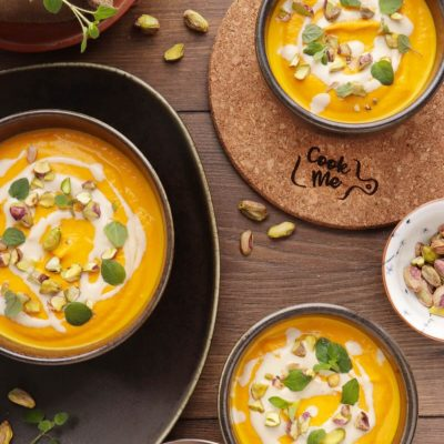 Tahini-Carrot Soup with Pistachios Recipe-Dairy Free Carrot Soup-Best Carrot Soup Recipe