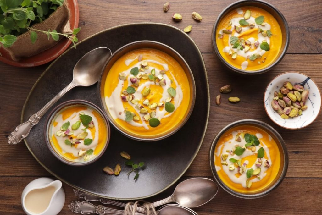 How to serve Tahini-Carrot Soup with Pistachios