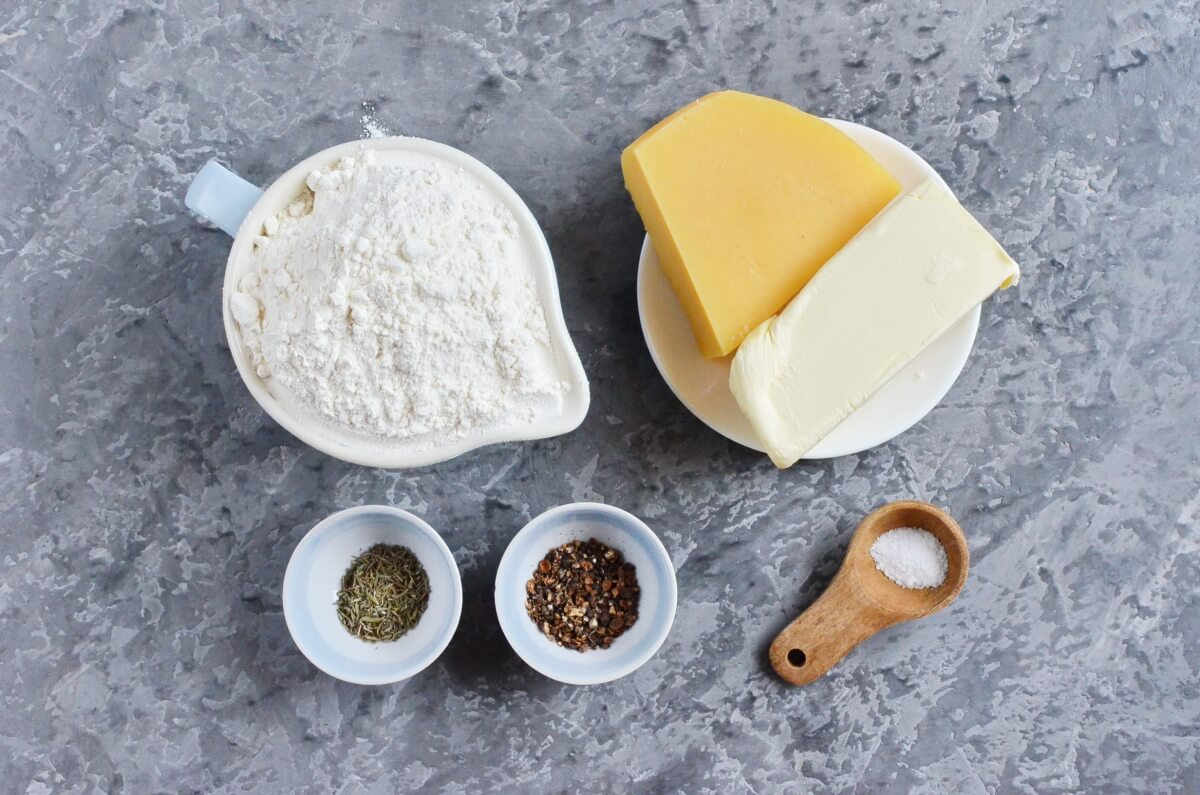 Ingridiens for Thyme and Cheddar Cheese Cookies