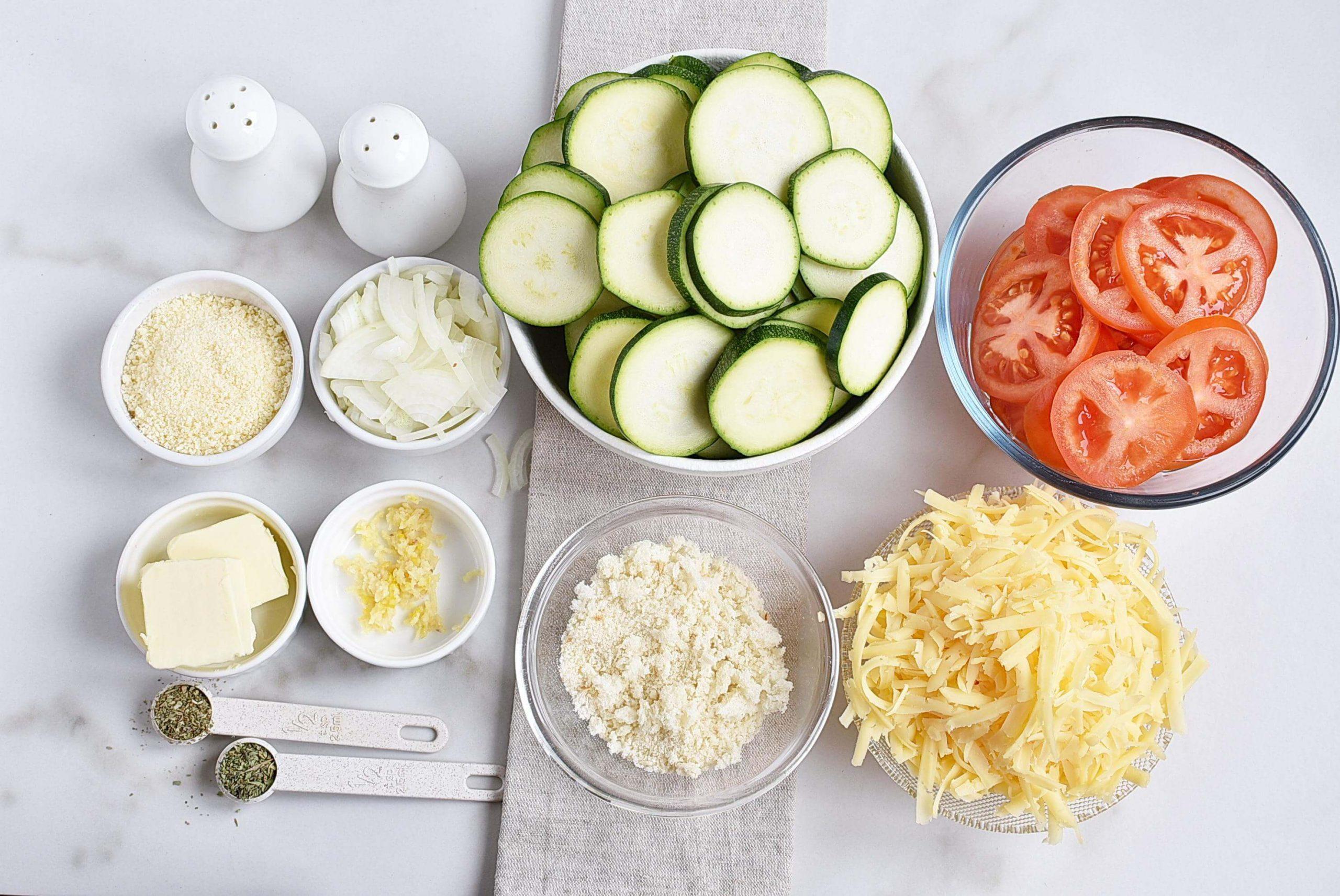 Ingridiens for Tomato Zucchini Casserole