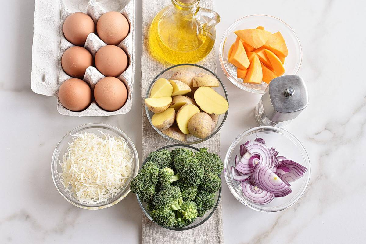 Ingridiens for Baked Eggs with Roasted Vegetables