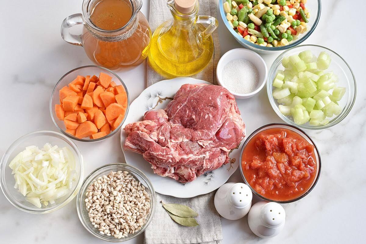 Ingridiens for Beef Barley Vegetable Soup
