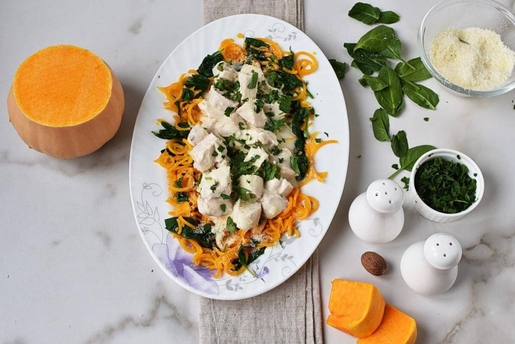 How to serve Butternut Squash Alfredo with Chicken & Spinach