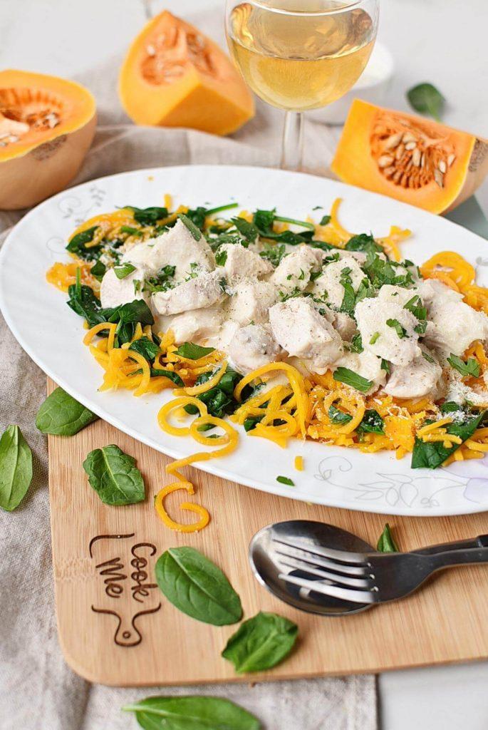 Butternut Squash Alfredo with Chicken & Spinach