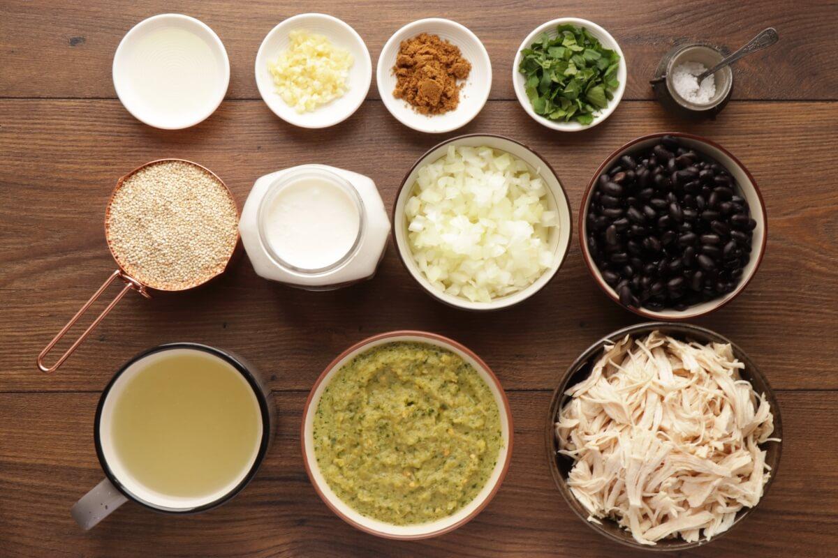 Ingridiens for Chicken, Quinoa, and Black Bean Chili Verde