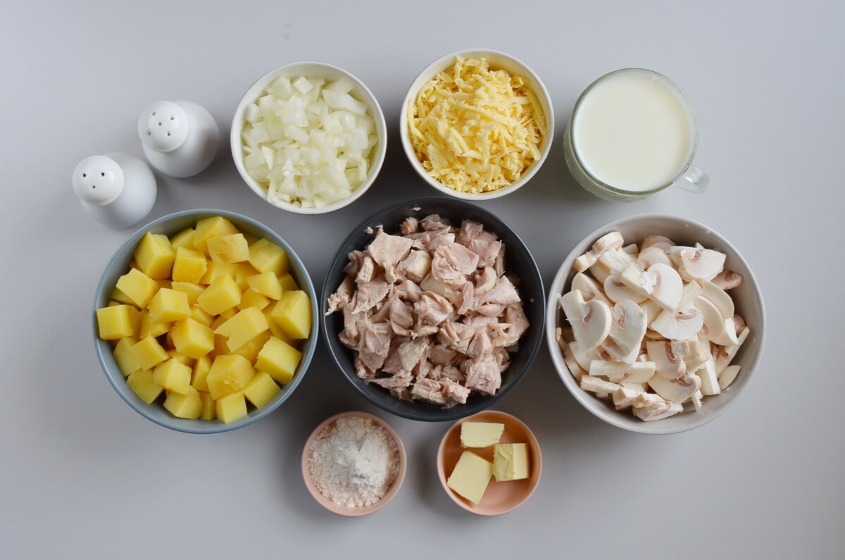 Ingridiens for Easy Leftover Chicken and Potato Casserole