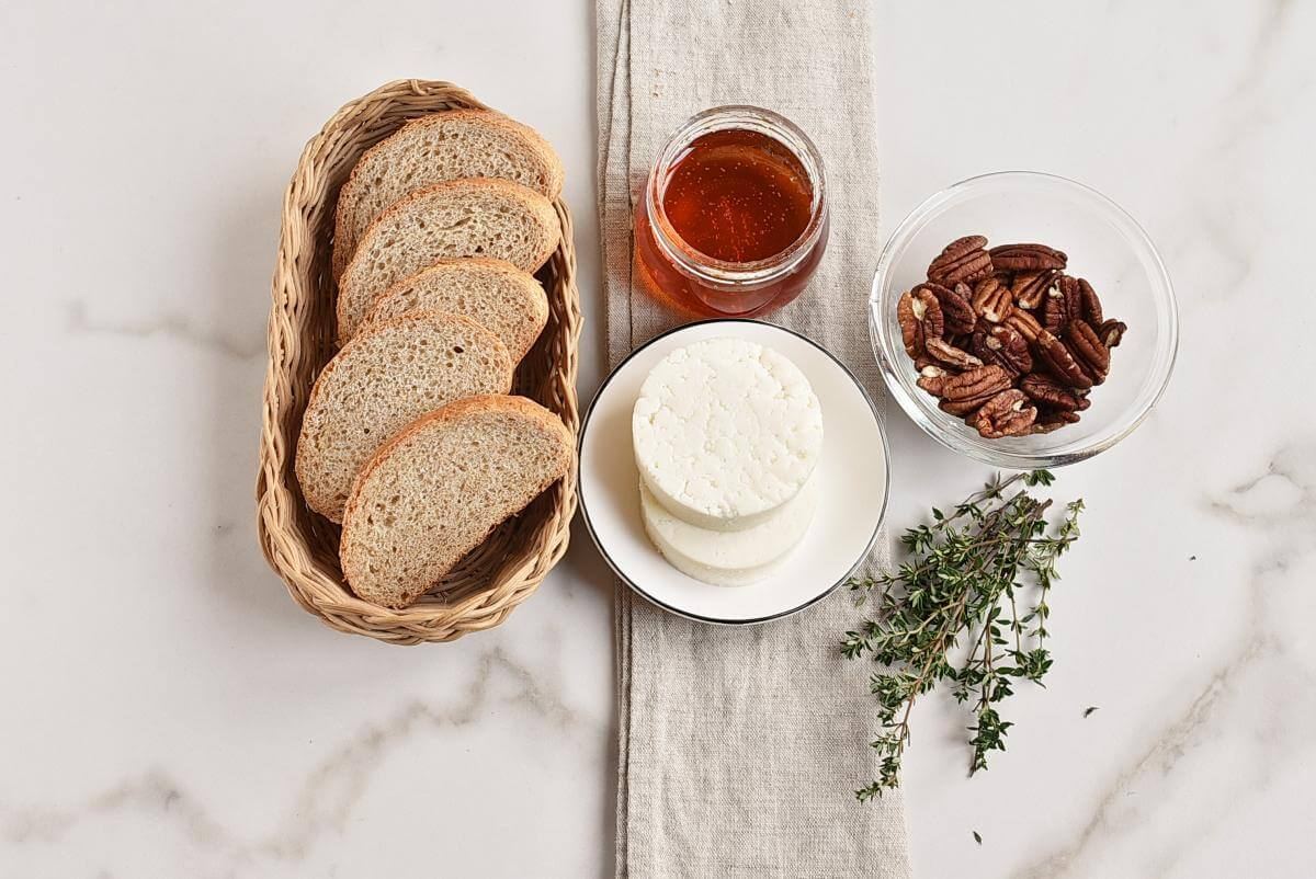 Ingridiens for Goat Cheese Crostini with Honey, Pecans and Thyme