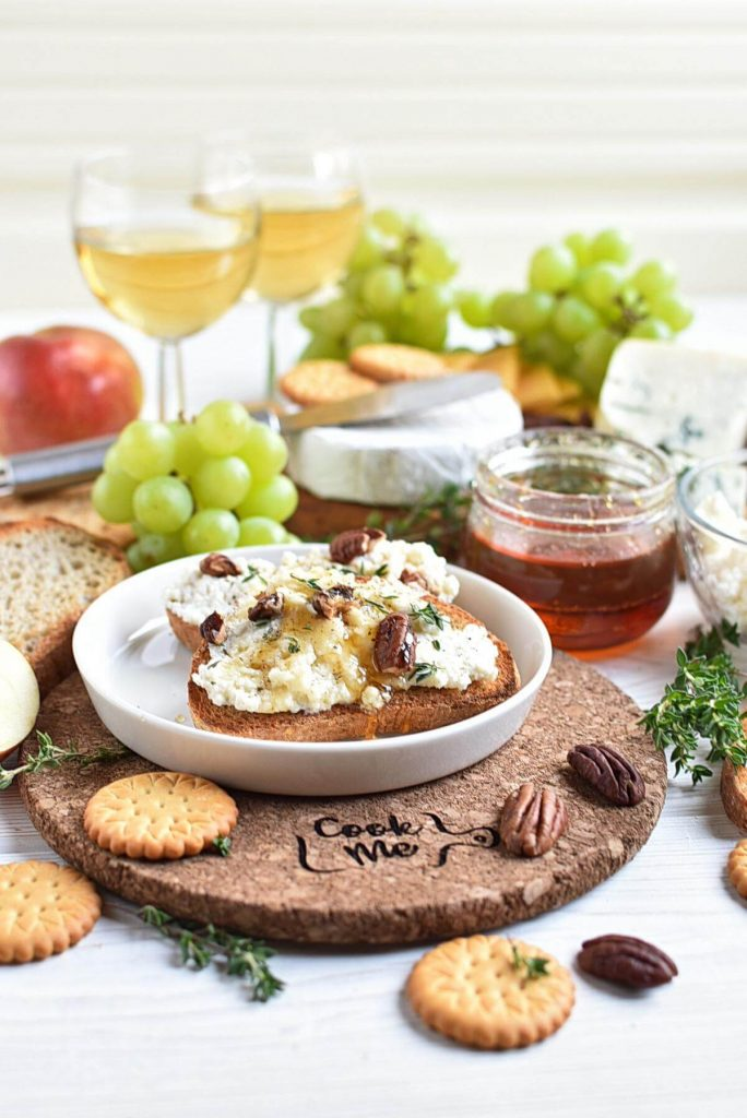 Goat Cheese Crostini with Honey, Pecans and Thyme
