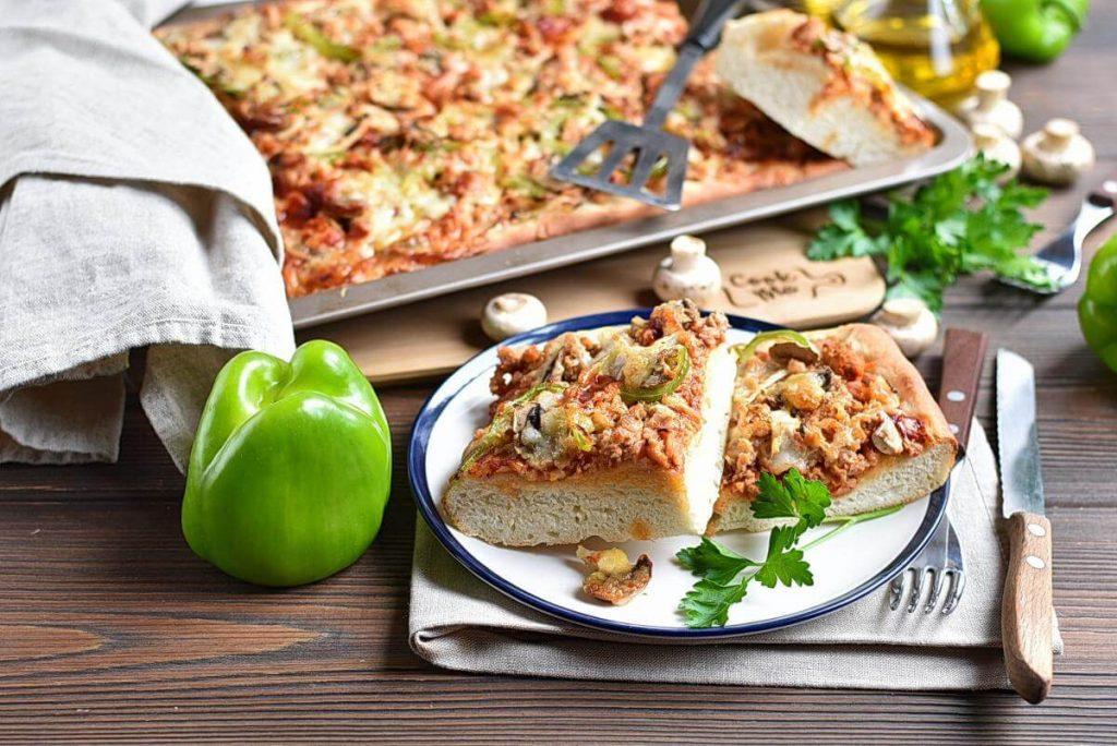 How to serve Grandma Pizza with Sausage, Pepper, Onion, and Mozzarella