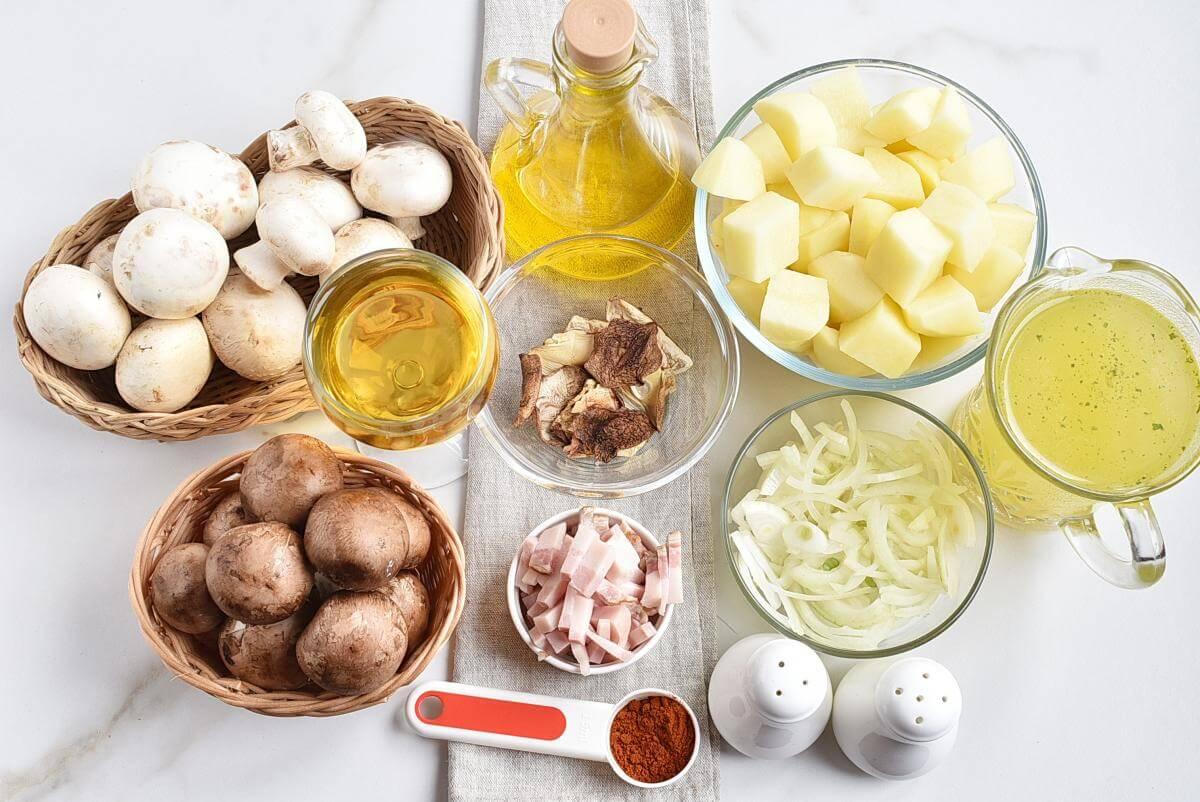 Ingridiens for Hungarian Mushroom and Potato Soup