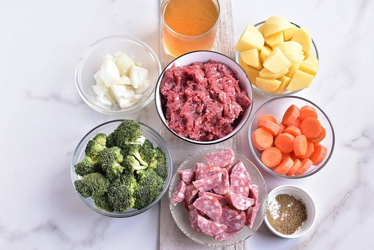 Ingridiens for Meatballs Sausage Broccoli Dinner