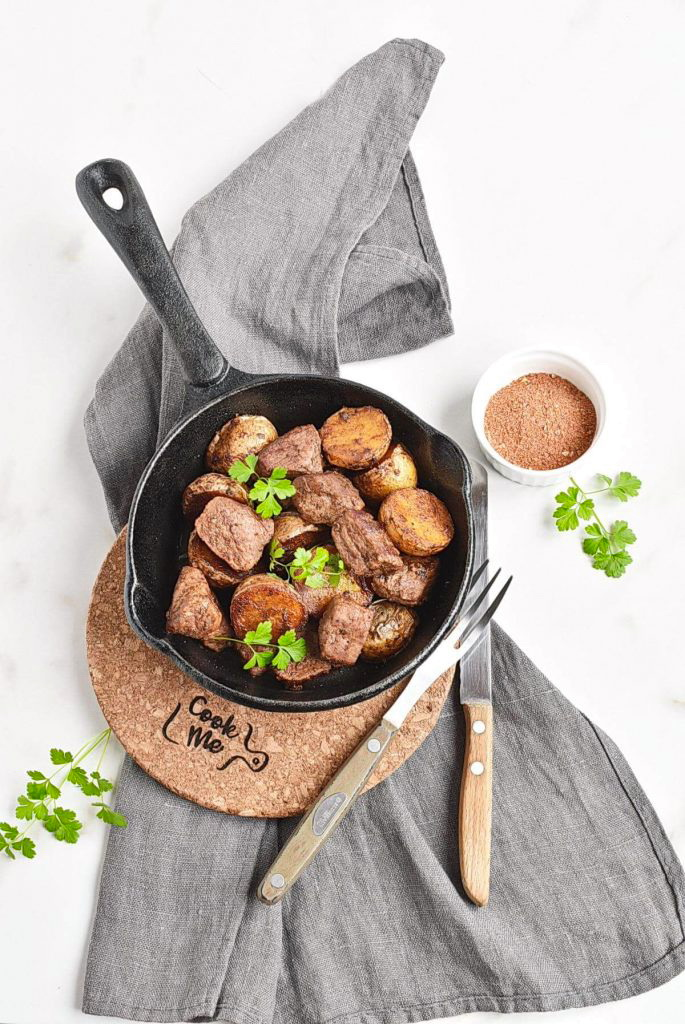 One Skillet Smoky Steak and Potatoes