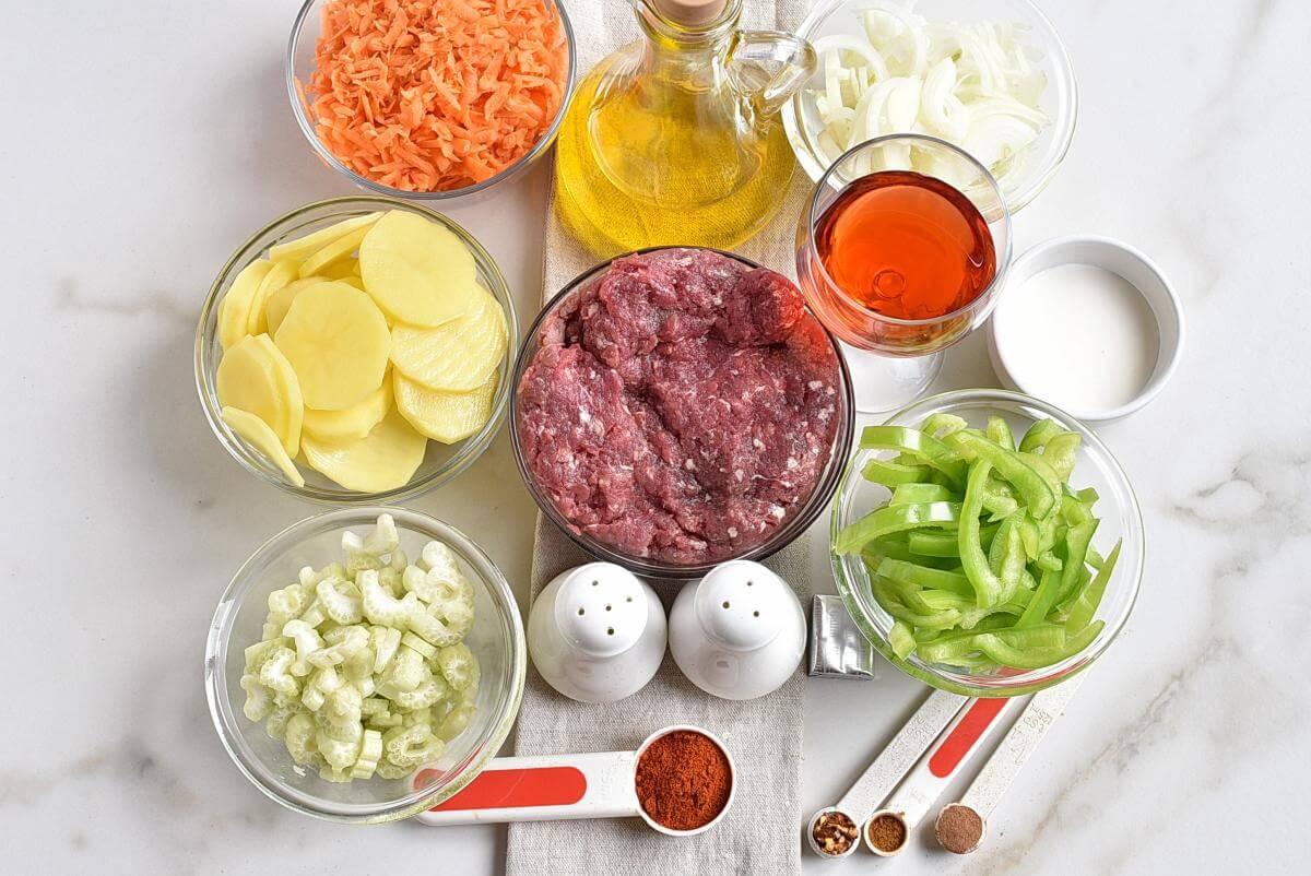 Ingridiens for Serbian Ground Beef, Veggie, and Potato Bake