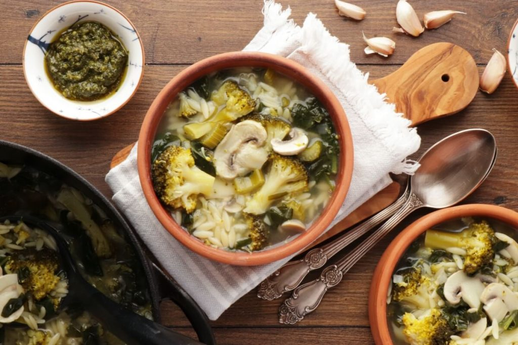 How to serve Supergreen Mushroom and Orzo Soup