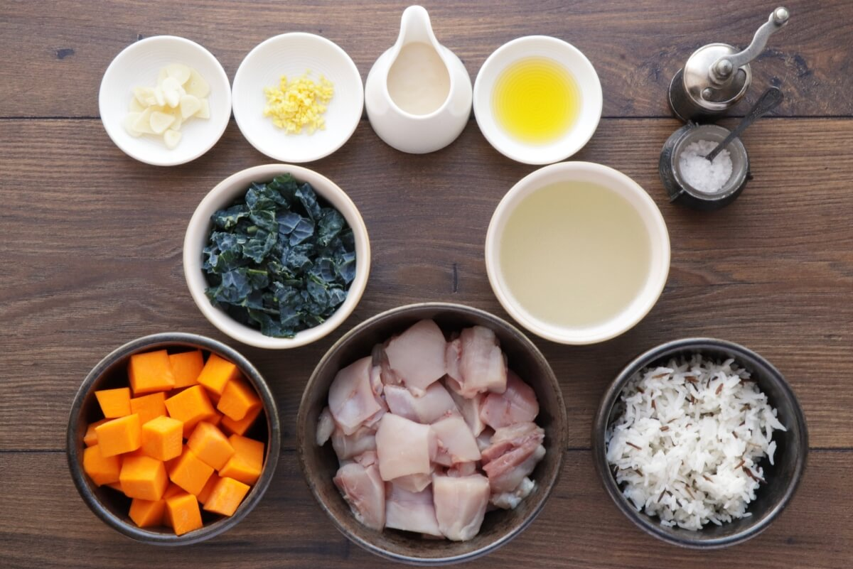 Ingridiens for Tahini-Dressed Chicken with Squash and Kale