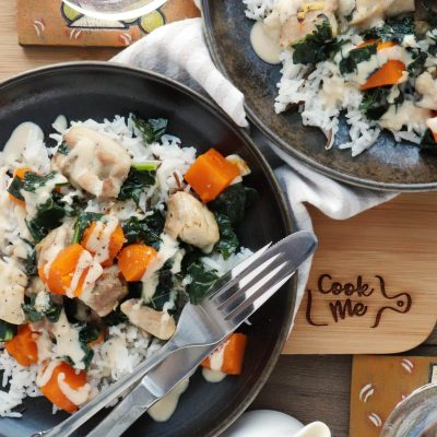 Tahini-Dressed Chicken with Squash and Kale Recipe-How to Make Tahini Dressed Chicken With Squash and Kale-Chicken with Butternut Squash and Kale