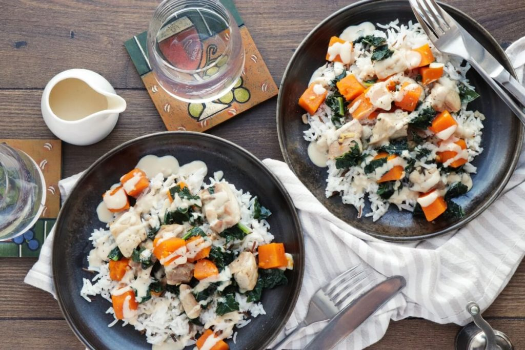 How to serve Tahini-Dressed Chicken with Squash and Kale