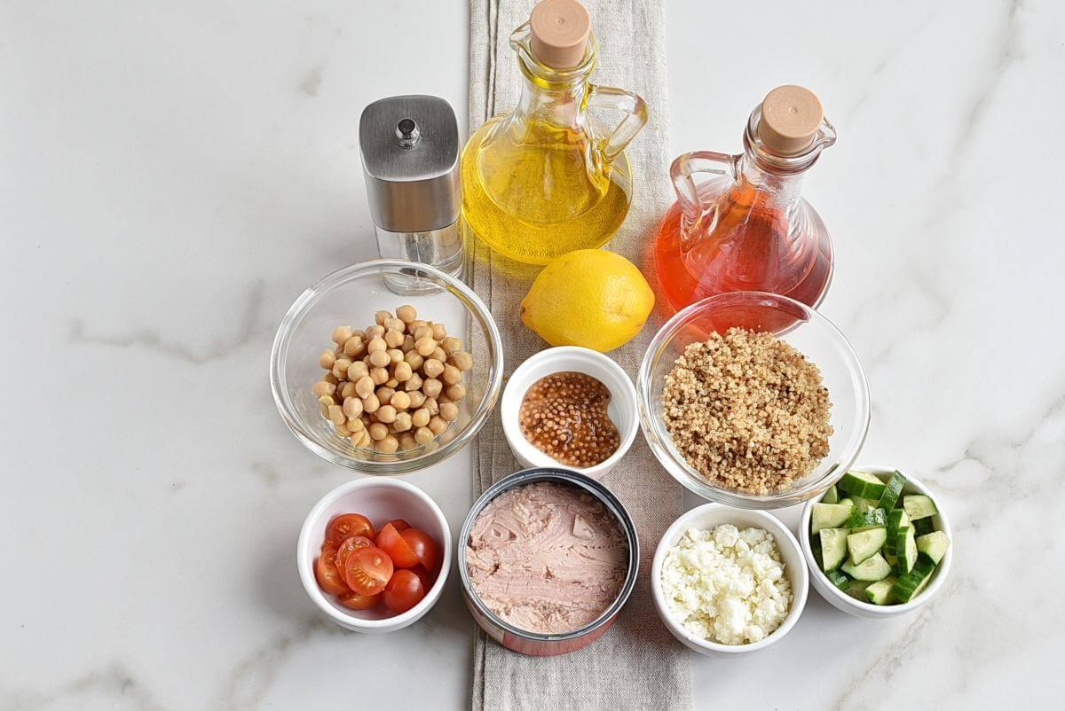 Ingridiens for Tuna-Quinoa Toss
