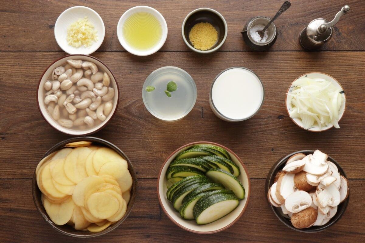 Ingridiens for Vegan Potato Bake (Potatoes au Gratin)