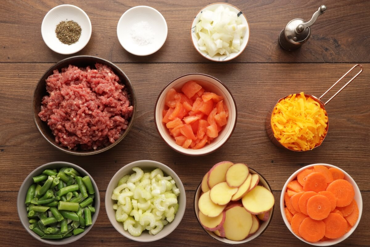 Ingridiens for Vegetable Beef Casserole