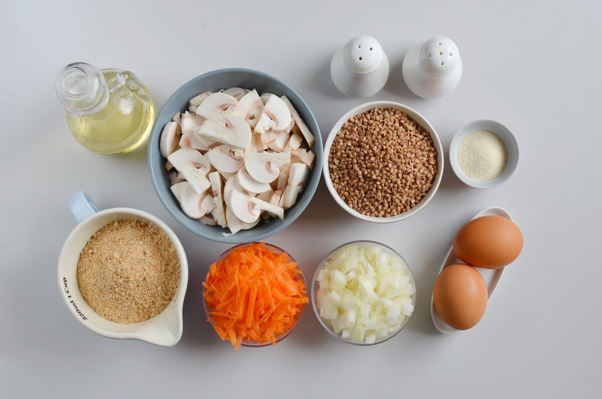 Ingridiens for Vegetarian Buckwheat and Mushroom Croquettes