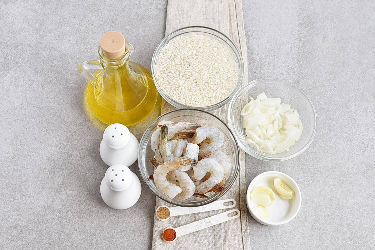 Ingridiens for 15 Minute One Pan Shrimp and Rice