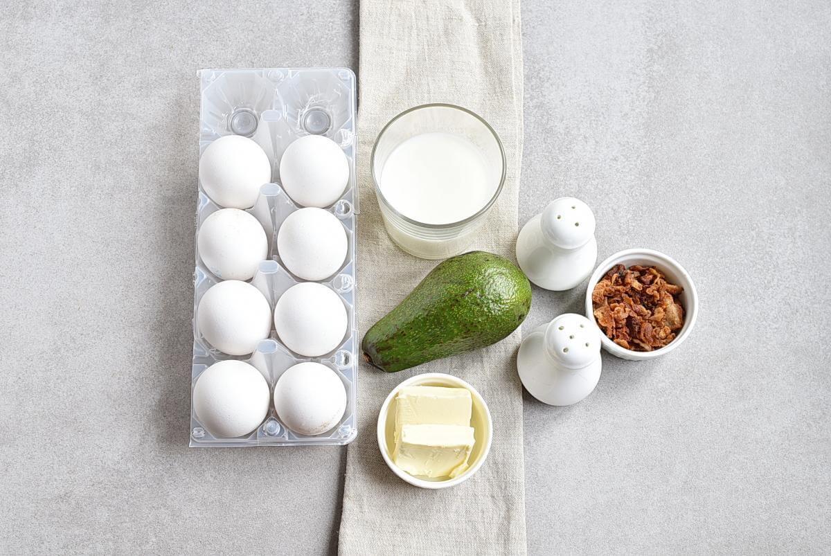 Ingridiens for Avocado Scrambled Eggs