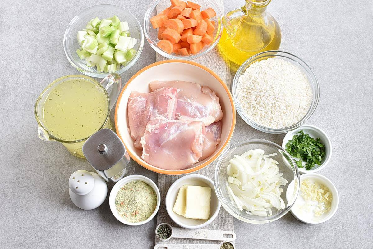 Ingridiens for Chicken and Rice Soup