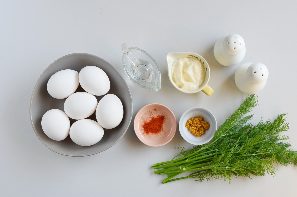 Ingridiens for Classic Deviled Eggs